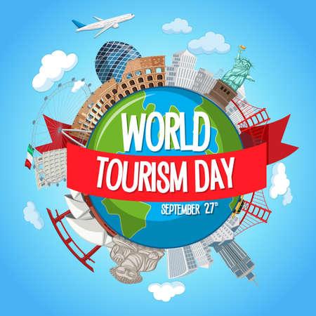 World tourism day with famous tourist landmarks elements illustration