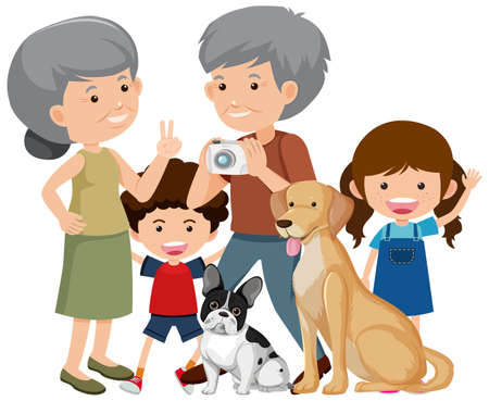 Family members with their pet dog on white background illustration Ilustração Vetorial