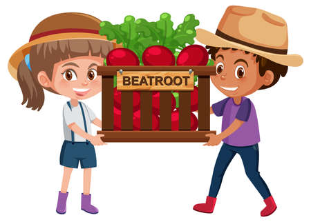 Children girl and boy with fruits or vegetables on white background illustration