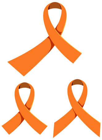 Orange ribbon leukemia awareness multiple sclerosis awareness malnutrition awareness sign or object illustration Illustration