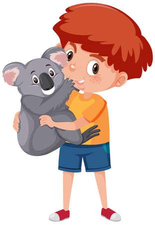 Boy holding cute animal cartoon character isolated on white background illustration