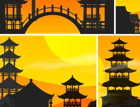 Chinese sunset set background illustration Иллюстрация
