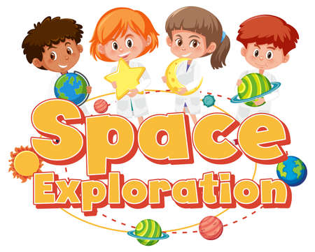 Space Exploration with kid holding space element isolated on white background illustration Vetores