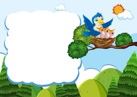 Bird and chicks banner template illustration