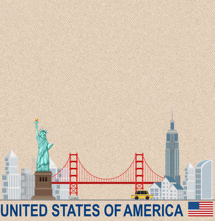 Blank vintage postcard with Statue of Liberty National Monument landmark of  New York illustration