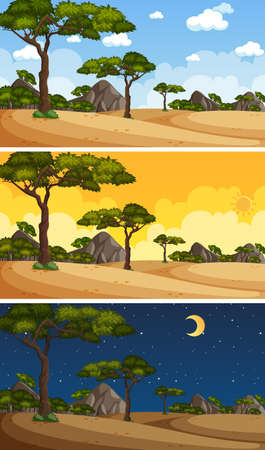 Nature landscape scene at different times of day illustration