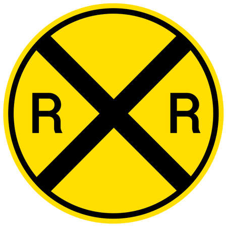 Railroad crossing warning sign isolated on white background illustration Ilustración de vector