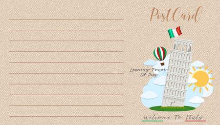 Blank vintage postcard with Landmark of Italy illustration