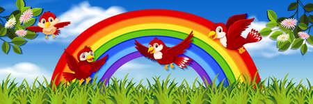 Bird in nature background illustration Иллюстрация