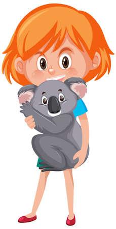 Girl holding cute animal cartoon character isolated on white background illustration Vetores