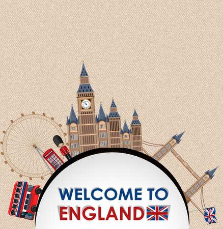 Landmarks of London on brown vintage paper postcard illustration