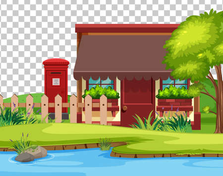 House in nature scene landscape on transparent background illustration