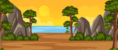 Horizon nature scene or landscape countryside with trees by the beach view and yellow sunset sky view illustration