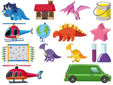 Set of children toys illustration 向量圖像