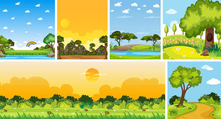 Set of different nature place scene in vertical and horizon scenes at daytime illustration