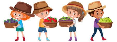 Set of different children holding fruit basket isolated on white background illustration