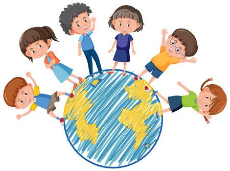 Many kids on globe in cartoon style isolated on white background illustration Ilustração
