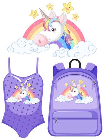 Set unicorn children costume illustration Ilustração Vetorial