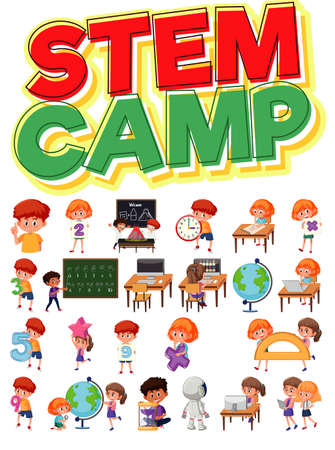 Stem camp and set of children with education objects isolated illustration