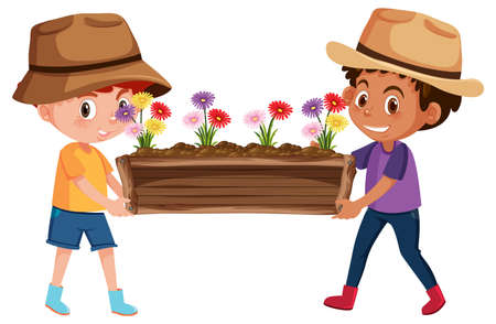 Cute boys holding flower in wooden pot cartoon character isolated on white background illustration