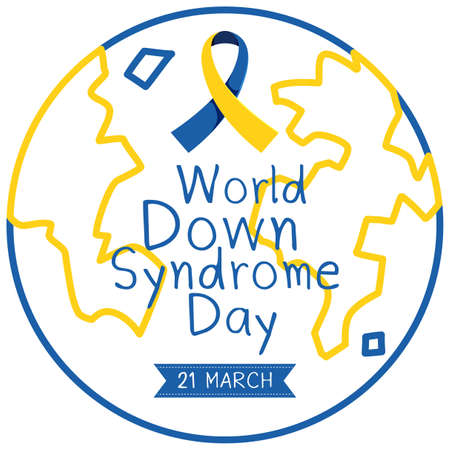 World Down Syndrome on 21 March with yellow - blue globe sign illustration