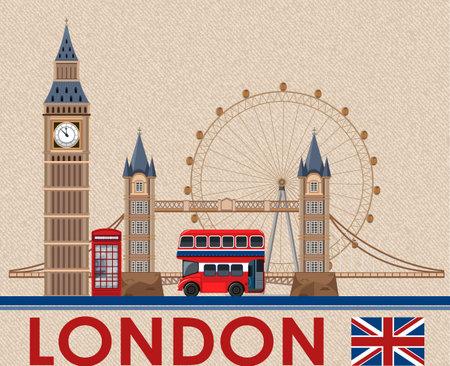 Big Ben london on brown postcard paper illustration