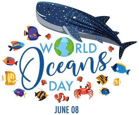 World oceans day icon illustration