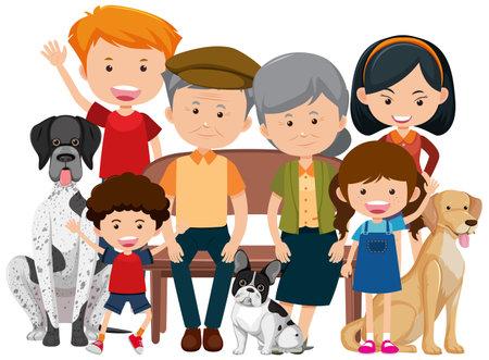 Family members with their pet dog on white background illustration Ilustração