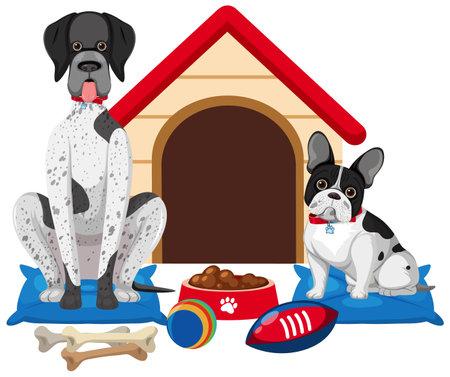 Cute dog and dog house on white background illustration