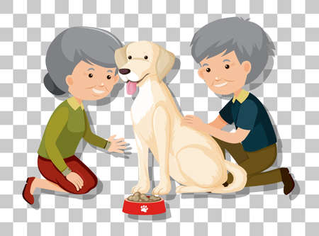 Old couple with their pet isolated on transparent background illustration