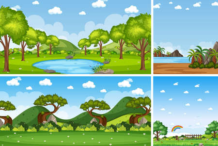 Four background different nature scenes with blank sky illustration