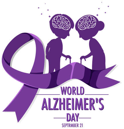 World Alzheimer's Day or banner with brain and old people silhouette illustration