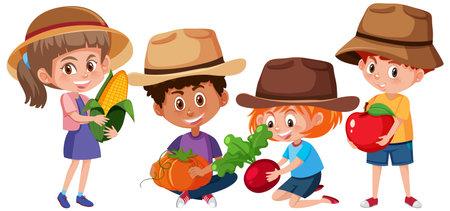 Set of different kids holding fruits or vegetables isolated on white background illustration Ilustração