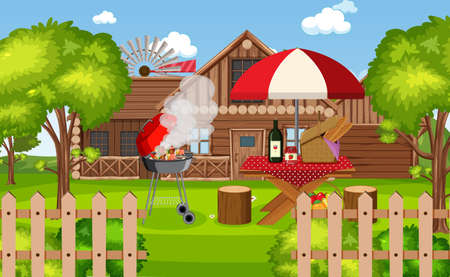 Picnic scene with food on the table and BBQ grill in the garden illustration