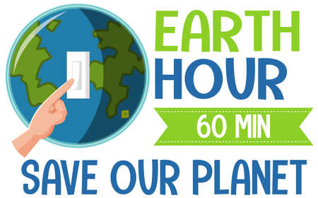 Earth Hour campaign poster or banner turn off your lights for our planet 60 minutes illustration Vektoros illusztráció