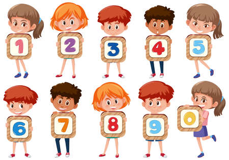 Set of different children holding the numbers isolated on white background illustration