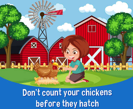 English idiom with picture description for don't count your chickens before they hatch illustration