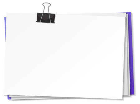 Blank papers and binder clip template illustration
