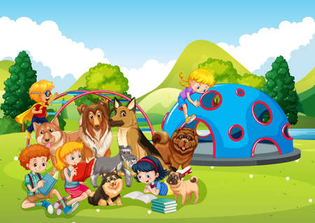 Playground outdoor scene with many children and their pet illustration
