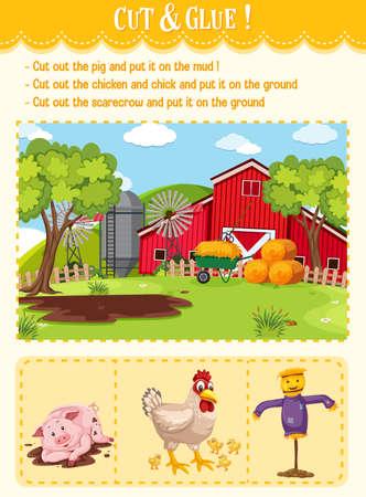 Cut and glue game for kindergarten illustration