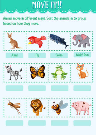 Sort the animal into the group based on how they move worksheet for kindergarten illustration Vektoros illusztráció