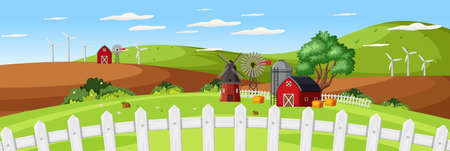 Farm landscape with red barn and close up fence in summer season illustration
