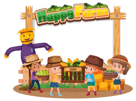 Blank banner with Happy Farm logo and farmer kids isolated on white background illustration