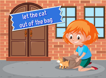 English idiom with picture description for let the cat out of the bag illustration