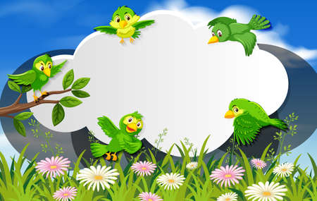 Happy bird in nature background blank banner illustration