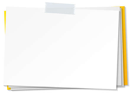 Empty paper note template stick with tape illustration