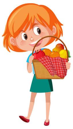 Girl holding picnic basket cartoon character isolated on white background illustration Vetores