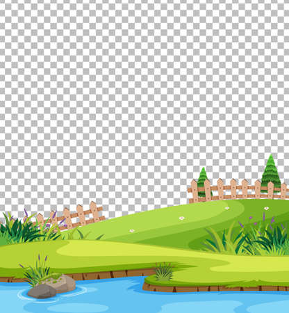 Blank nature park scene landscape on transparent background illustration