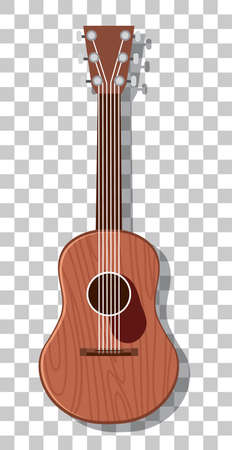 Acoustic guitar isolated on transparent background illustration
