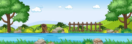 River scene in the park horizontal scene illustration
